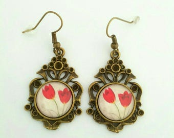 """Beautiful tulips"" bronze earrings"
