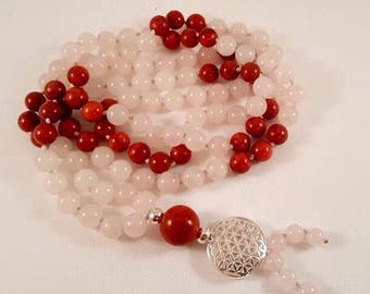 Mala-necklace of rose quartz, coral and flower of life-925 silver