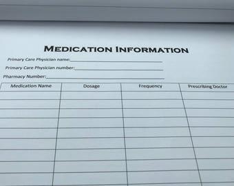 Medication Information Sheet | Digital Download | Medical Forms | Prescription Log