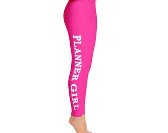 Hot Pink Planner Girl Leggings // Gift For Her, Planner Gift, Mother's Day Gift