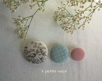 Pins pins X 3, linen and cotton, shabby vibe
