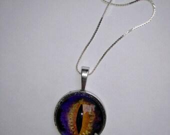 Purple watercolor eye cabochon pendant