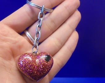 Love Heart/Glitter Resin/Key Ring/Sparkle/Love Zip charm.