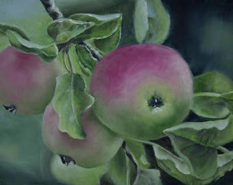 Oil Painting Apple Branch 6x8 by JS