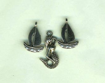 Mermaid charms and boats, three silver charms, set of charms, mermaid and boat charms, jewelry supplies