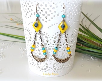 """""""Sunny Day"""" Chandelier ethnic hoop earrings with tropical colors"""