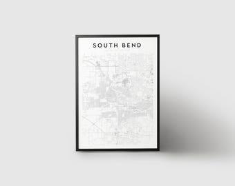 South Bend Map Print