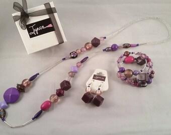 Long Necklace Jewellery Set Purple