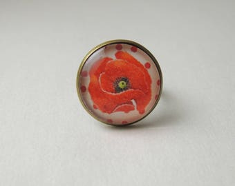 "Ring Cabochon ""Poppy"" red black polka dots"