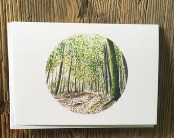 Cycling Card, Mountain Bike Card, Woodland, Forest, Illustration