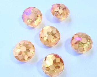 LARGE Crystal beads PUCKS orange pink light AB MUTIPLES reflections 14 x 6 mm 2 beads (H73)