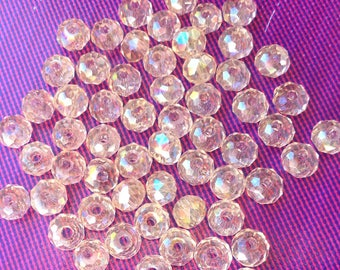 Crystal SWAROVSKI beads RONDELLE CHAMPAGNE Rose LUMI7RE AB 4 x 3 mm 10 beads (65)