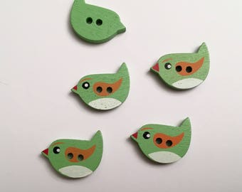 "BUTTONS ""CHEEP-CHEEP"" in green wood MAT 21 x 14 mm, 4 buttons (V32)"