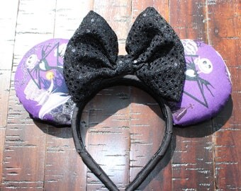 Nightmare Before Christmas Inspired Mouse Ears, Jack Skellington Inspired Minnie Ears