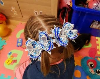 Blue floral hairbow set for baby girls Elastic hair tie pair 4 inc hair bow Handmade hair accessories Ponytail holder Hair scrunchy