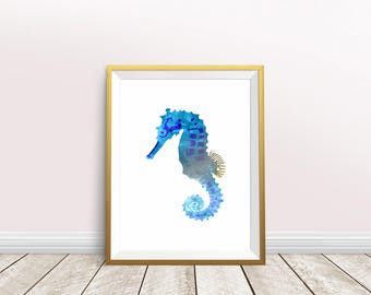 Seahorse Watercolor,Seahorse Painting,Instant download,Seahorse Print,Blue Seahorse,Seahorse Art,Sea Life Art,Nursery decor,Sea Life Print