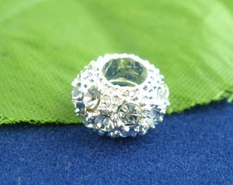 Perle European silver and rhinestone
