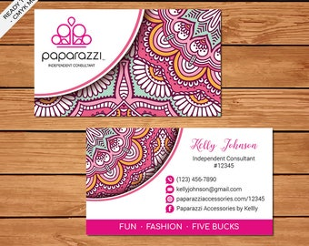 Paparazzi Business Card, Custom Paparazzi Accessories Business Card, Fast Free Personalization, Printable Business Card PZ02