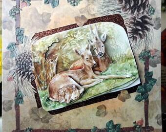 3D card family deer in forest amid TBZ