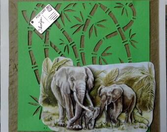 card 3D family elephans amid bamboo