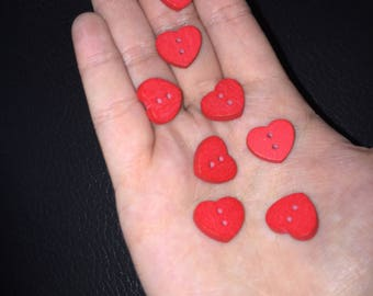 10x Red heart wooden buttons