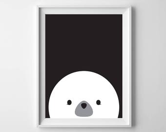 Seal Nursery Printable Art, Animal Art, 8x10, 4:5 Ratio, Modern Wall Art, Instant Download, Digital Print Printable Art