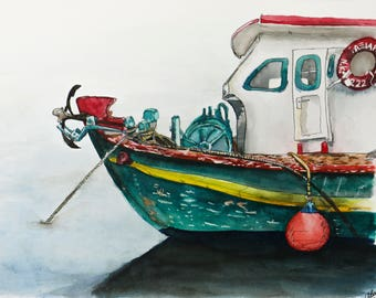 Greek Fishing Boat Watercolor