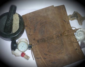 REAL Leather folder, book of shadows.