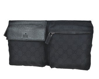 585 GUCCI Authentic Bum Bag Waist Pouch Vintage GG Pattern Black Canvas Leather Italy
