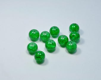 PE332 - Set of 10 Green 12mm Crackle glass beads
