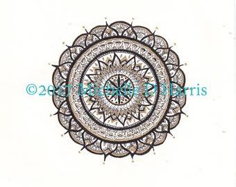 Black and Gold Mandala Printable Wall Art INSTANT DOWNLOAD, flowery mandala, digital print, illustration, mandala print