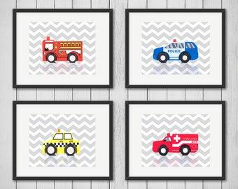 Set of 4 Transportation city prints, boys room decor, kids wall art, transportation car, nursery print, transportation decor, nursery poster