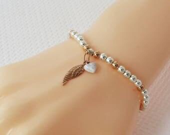 Silver Angel Wing Bracelet, Angels Bracelet, Rose Gold Silver Angel Jewelry, Wing Charm Bracelet, Rose Gold Wing Charm, Wings Bracelet