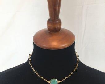 "Emerald Pendant Necklace 14"""