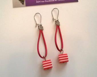 Red original earrings are handmade