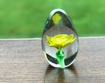 Floral coloured glass teardrop paper weight 7cm