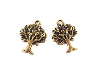 Set of 2 charms trees color bronze