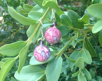 Pink and gray Jasper earrings