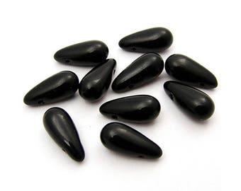 10 beads Czech glass 13 x 6mm opaque black