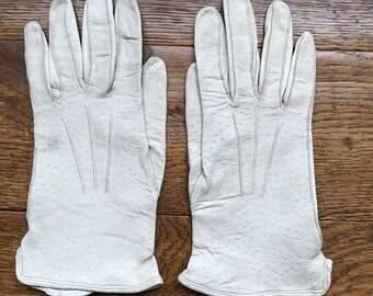 Ladies kid leather gloves, ladies gloves, evening gloves, leather gloves, white leather gloves, gifts for her