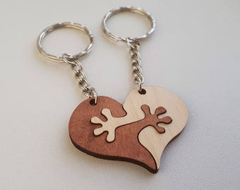 Keychain For Loved Ones / Friends - Interlocking Heart - Laser Cut Wood Key Ring