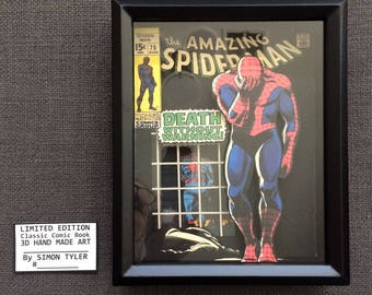 Amazing Spiderman 75 Silver Age Comic Book Cover Art in 3D Framed Limited Edition Numbered Signed