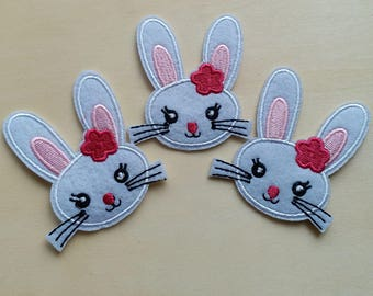 A dozen - 12pcs - Easter bunny rabbit Embroidered Iron on Patch Applique machine embroidery