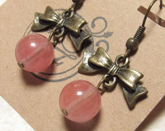 Antiqued Brass Bow and Cherry Quartz Earrings