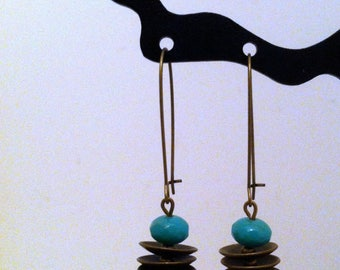 Original earrings blue green and bronze