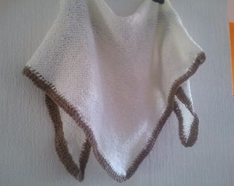Shawl knitted by hand white crochet edge