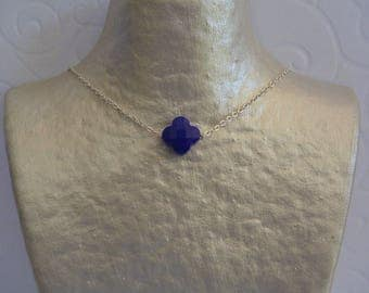Clover blue Royal and silver chain necklace