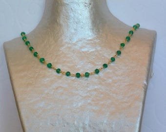 Necklace of Jade green and gold
