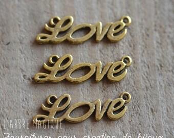 """10 connectors fancy """"LOVE"""" gold tone color"""