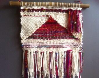 Recycled sari silk and wool weaving